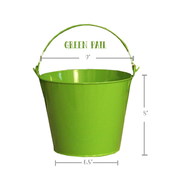 PAIL, GREEN FLOWERS BUCKET