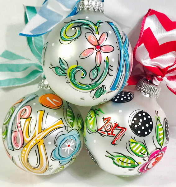 PERSONALIZED FLORAL Ornament