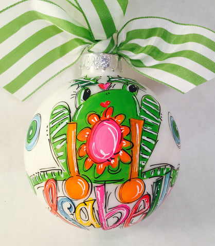 Jolly Little Frog Christmas Ornament, Personalized Ornament