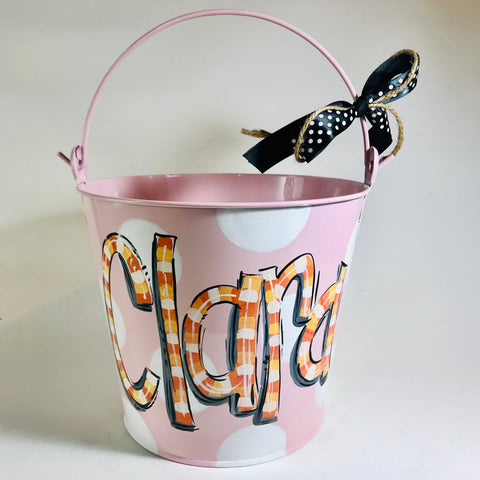 PAIL, Halloween  'Candy Corn' Font on Pink Metal Pail