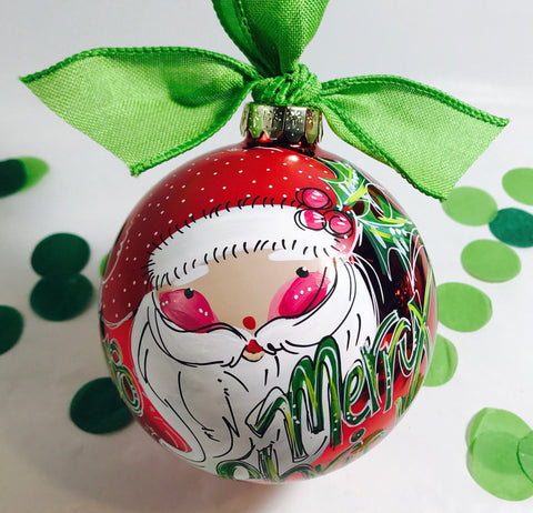 ORNAMENT, PERSONALIZED SANTA on Shiny Red Holiday Ball