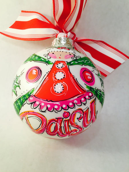 Hand painted, personalized Christmas Ornament , Elf Ornament.