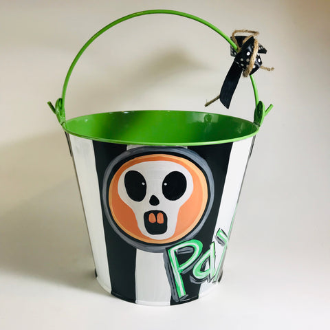 PAIL, Halloween, Skull on Green Bucket