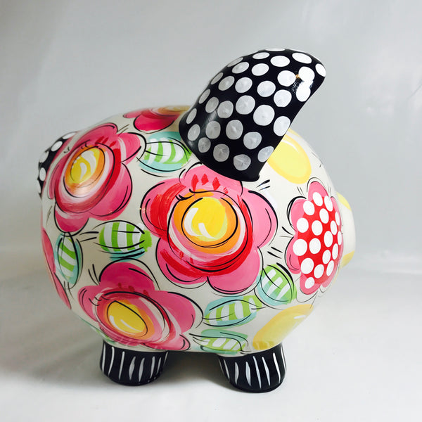 PIGGY BANK (Ceramic), Hot Pink, Black and Yellow, Floral Piggy Bank