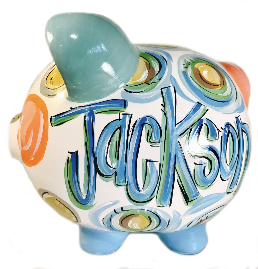 PIGGY BANK (Ceramic), Sea foam Blue, Green, Brown & Gold 'DOTS', Personalized, Boy Bank