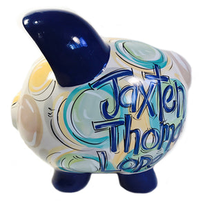 PIGGY BANK (Ceramic), Navy, Green & Gray 'DOTS', Personalized, Sweet Boy Bank, Navy, Seafoam, Teal and Yellow, Personalized,