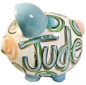 PIGGY BANK, (Ceramic), Pastel Blue, Green & Gray 'DOTS', Personalized, Bank for Boy