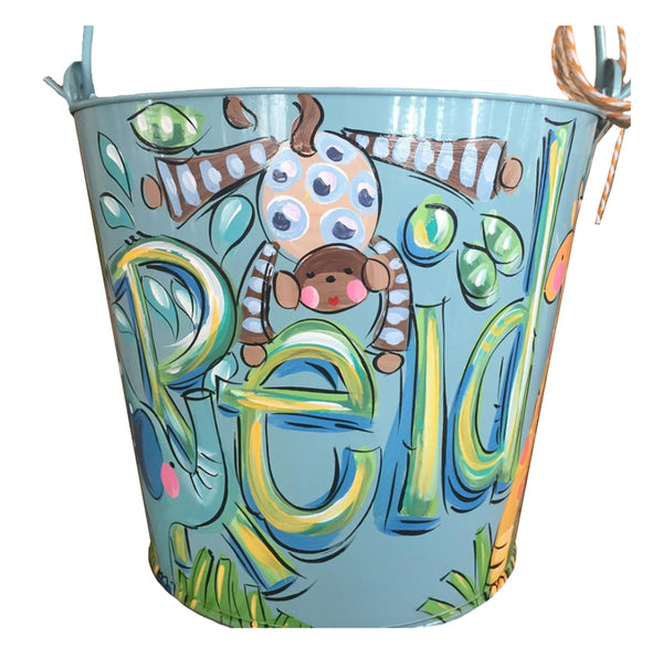 Personalized bucket for boys, jungle theme, room decor