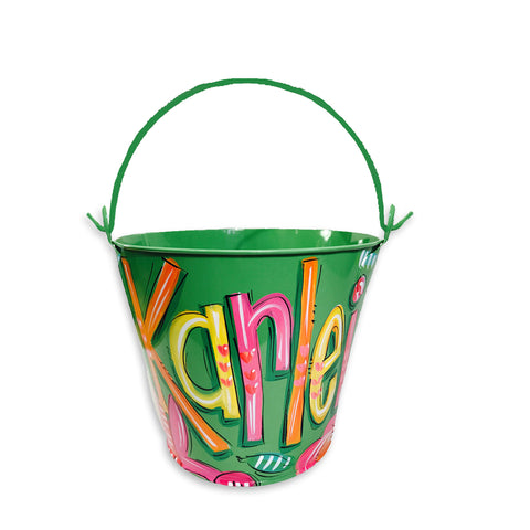 GREEN with Pink Bunny Pail, Hand Painted, Personalized Bucket