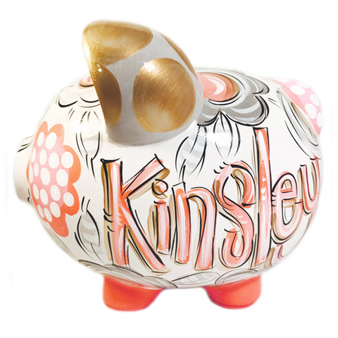 Coral, Gray and Gold Personalized Ceramic Piggy Bank