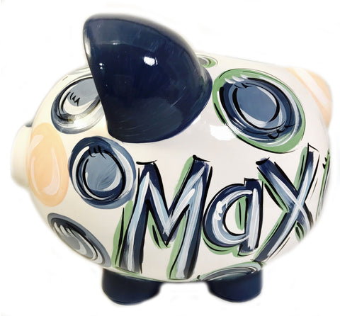 Navy, Green & Gray 'DOTS', Personalized, Ceramic Piggy Bank for Boy