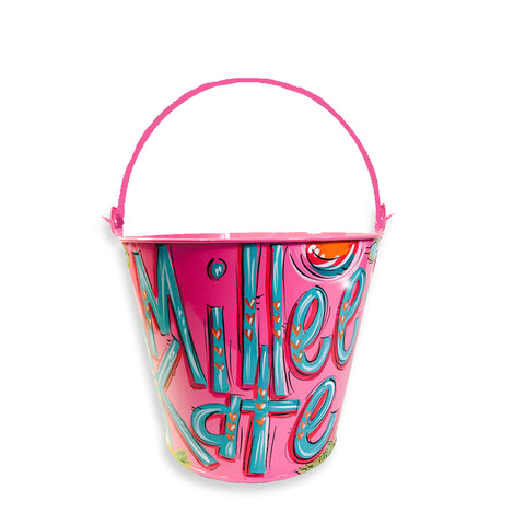HOT PINK, Hand Painted, Personalized Bucket