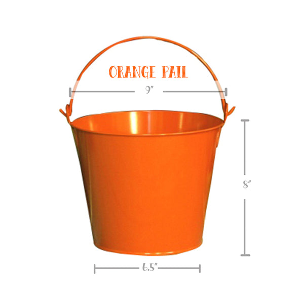 PAIL, ORANGE, Hand Painted Bucket, Personalized Pail