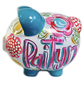 PIGGY BANK (Ceramic), 'FLORAL & DOT' Hot Pink Floral Piggy Bank