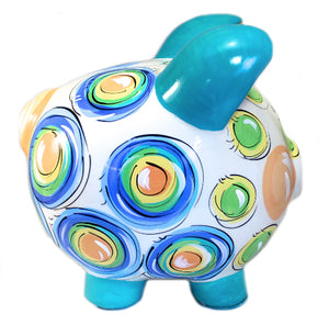 Pastel DOTS, Personalized, Ceramic Piggy Bank for Boy