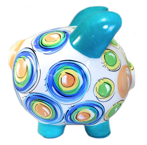PIGGY BANK (Ceramic), Pastel DOTS, Personalized Piggy Bank for Boy