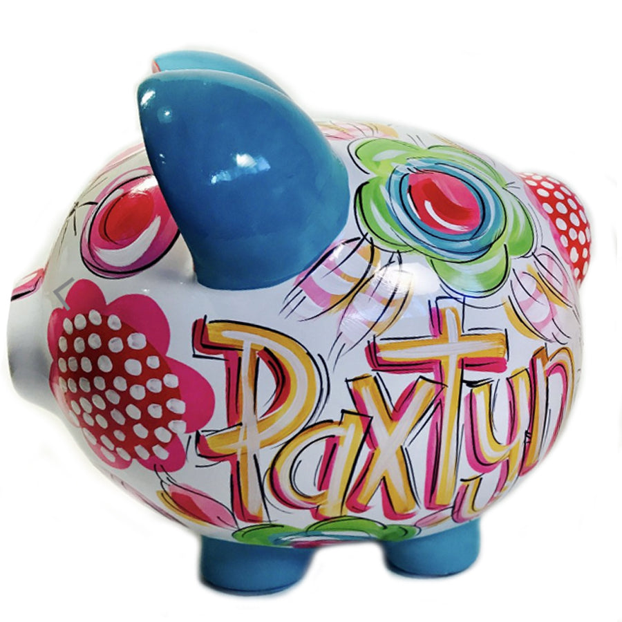 Green, Hot Pink, Blue & Orange 'FLORAL & DOT' CERAMIC PIGGY BANK