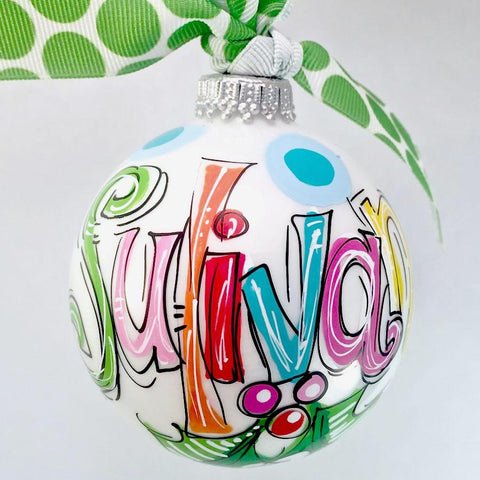 Color-filled name ornament, hand painted and personalized, monogrammed