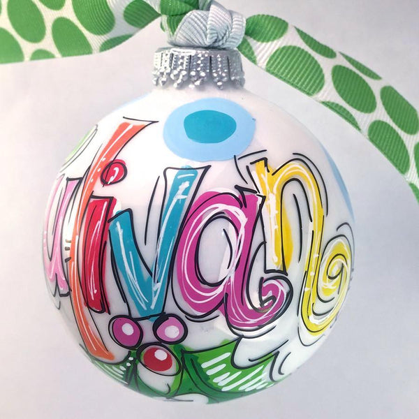 ORNAMENT, PERSONALIZED HOLLY & DOTS Ornament