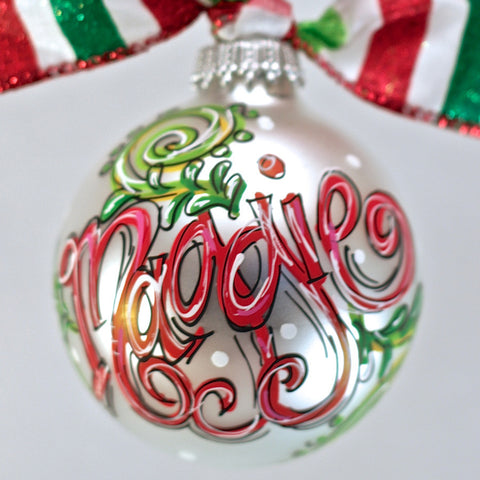 ORNAMENT, PERSONALIZED SWIRLS with HOLLY Ornament