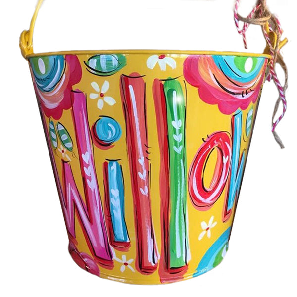 Personalized, hand painted bucket for girls, Easter bucket,  room decor