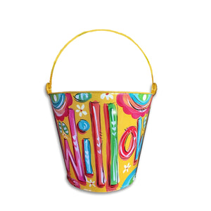 YELLOW, Hand Painted, Personalized Bucket
