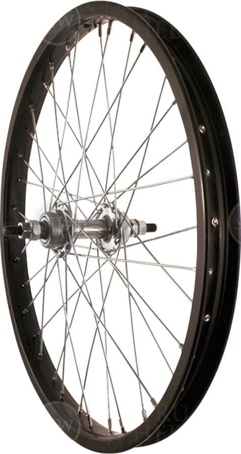 "Sta-Tru Rear Wheel 20"" Black Single Speed BMX Hub, Steel Rim, Solid Axle, and 36 Spokes, Include Axle Nuts"