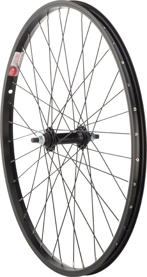 "Sta-Tru Front Wheel 24"" x 1.5"" Solid Axle, 36 Spokes, Includes Axle Nuts, Black"