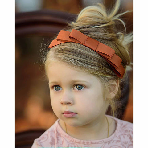 Lizzie 3 Layer Ribbon Bow On Adjustable Soft Headband - ZeldaMatilda.com