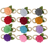 Handmade Luxury felt flowers on Nylon soft and comfortable Headbands 12 Piece Set for newborns babies and big girls