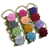 Handmade Luxury felt flowers on Nylon Headbands 12 Piece Set - ZeldaMatilda.com