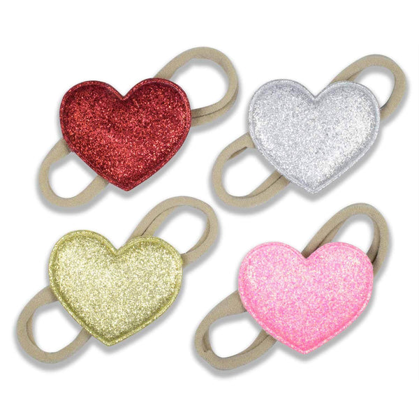 Sparkly Hearts on Nylon Headbands - 4 Piece Set