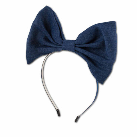 Dorothy Denim Bow on Hard Headband