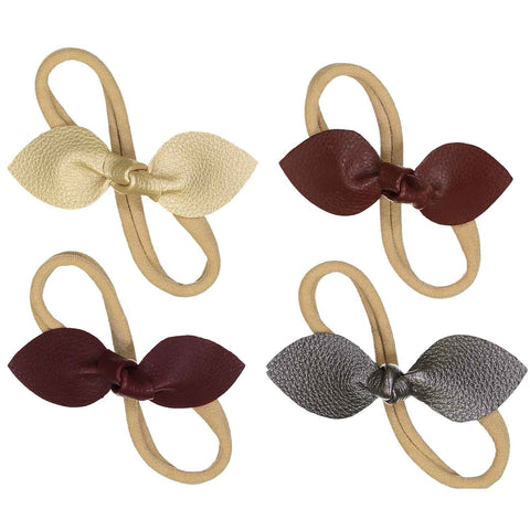 Faux Leather Rabbit Ears Nylon Headband - 4 Piece Set
