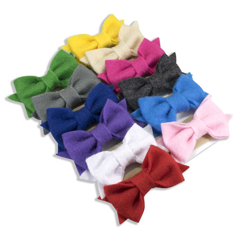Softy Felt Bow on Nylon Headband 12 Piece Set