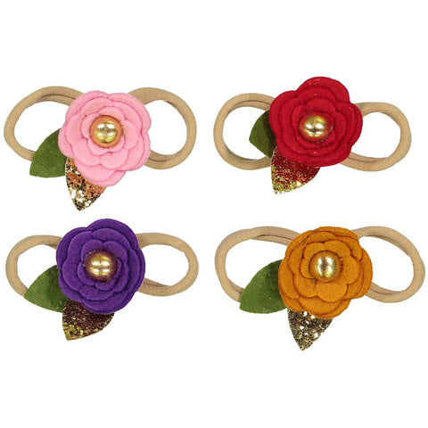 Nylon Headband Set - Sparkle and Felt Flowers - 4 Piece Set