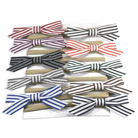Striped Bow on Nylon Headband 10 Piece Set