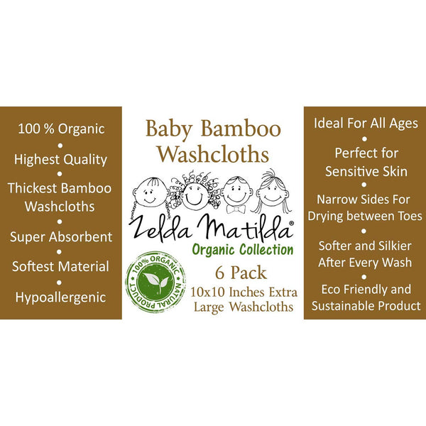 Organic Bamboo Washcloths / Wipes - Cream Color (6 Pack) - ZeldaMatilda.com