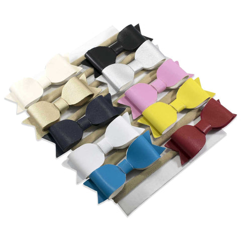 Vegan Leather Bow on Nylon Headband 10 Piece Set