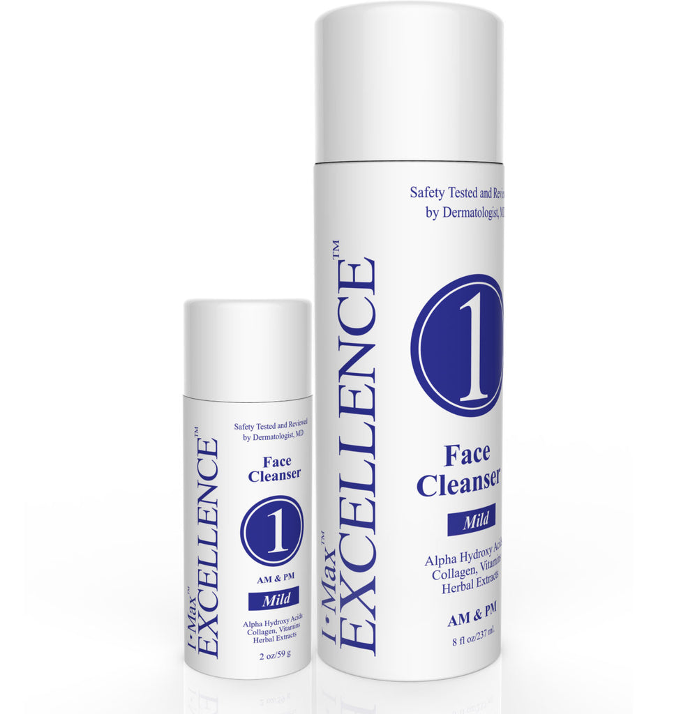 What are the active ingredients for I Max EXCELLENCE #1 Facial Cleanser  2 Oz & 8 Oz?
