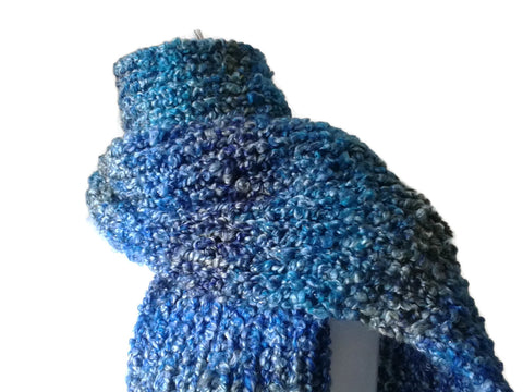 Blue Ombre Soft Hand Knit Scarf - Smitten Kitten Originals Knits - 1