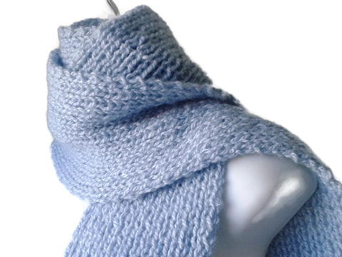 Hand Knit Sky Blue Scarf - Smitten Kitten Originals Knits - 1