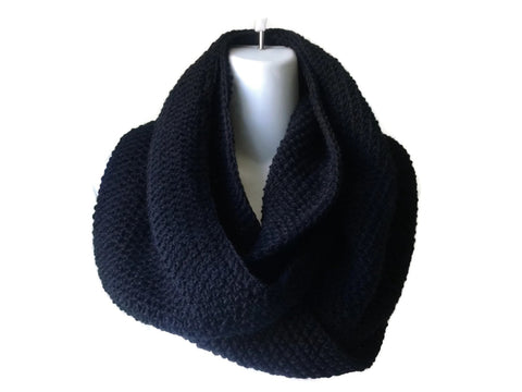 Black Infinity Scarf in Pure Wool or Wool Blend - Smitten Kitten Originals Knits - 1