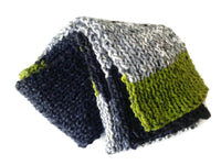 Knit Scarf Grey Black Green Stripe - Smitten Kitten Originals Knits - 4