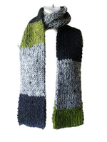 Knit Scarf Grey Black Green Stripe - Smitten Kitten Originals Knits - 2