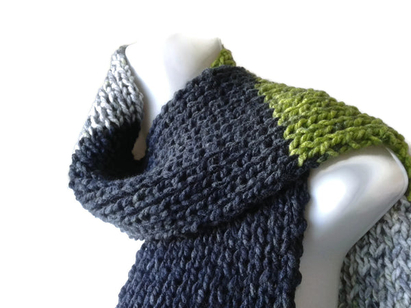 Knit Scarf Grey Black Green Stripe - Smitten Kitten Originals Knits - 1