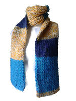 Knit Scarf Navy Blue Yellow Aqua Stripe - Smitten Kitten Originals Knits - 2