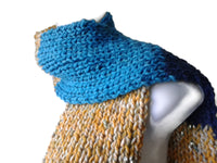 Knit Scarf Navy Blue Yellow Aqua Stripe - Smitten Kitten Originals Knits - 1