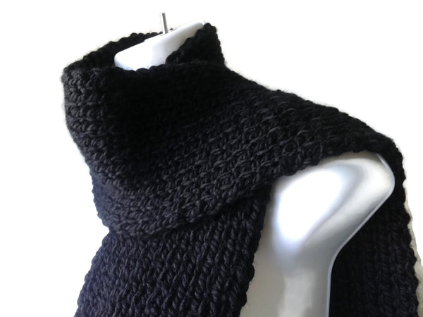 Vegan Knit Scarf Midnight Black - Smitten Kitten Originals Knits - 1