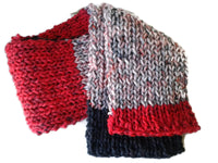 Knit Scarf Red Gray Black Stripe - Smitten Kitten Originals Knits - 5